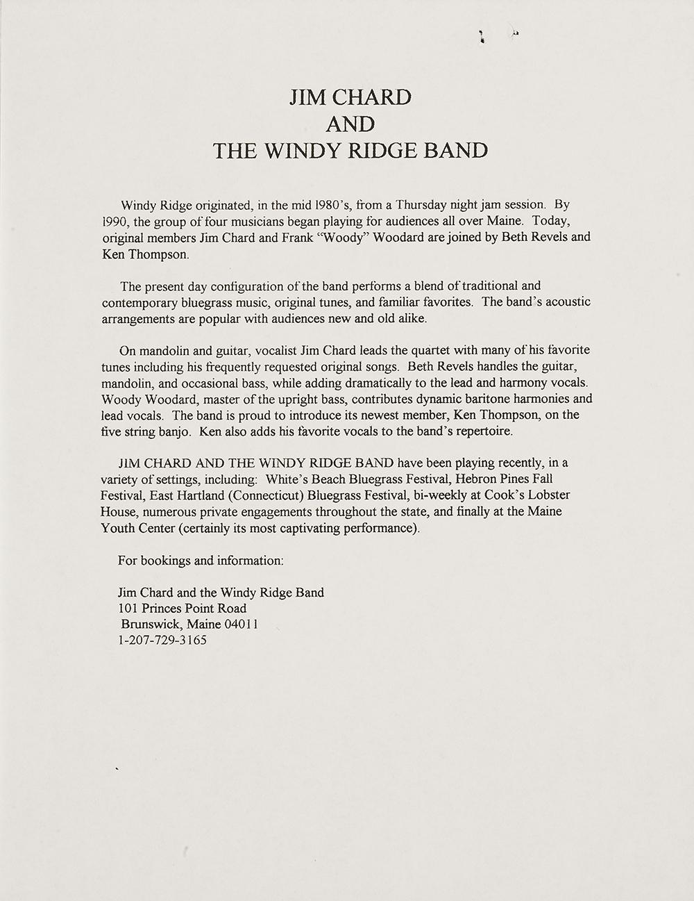 BIOG-0034, Jim Chard And The Windy Ridge Band