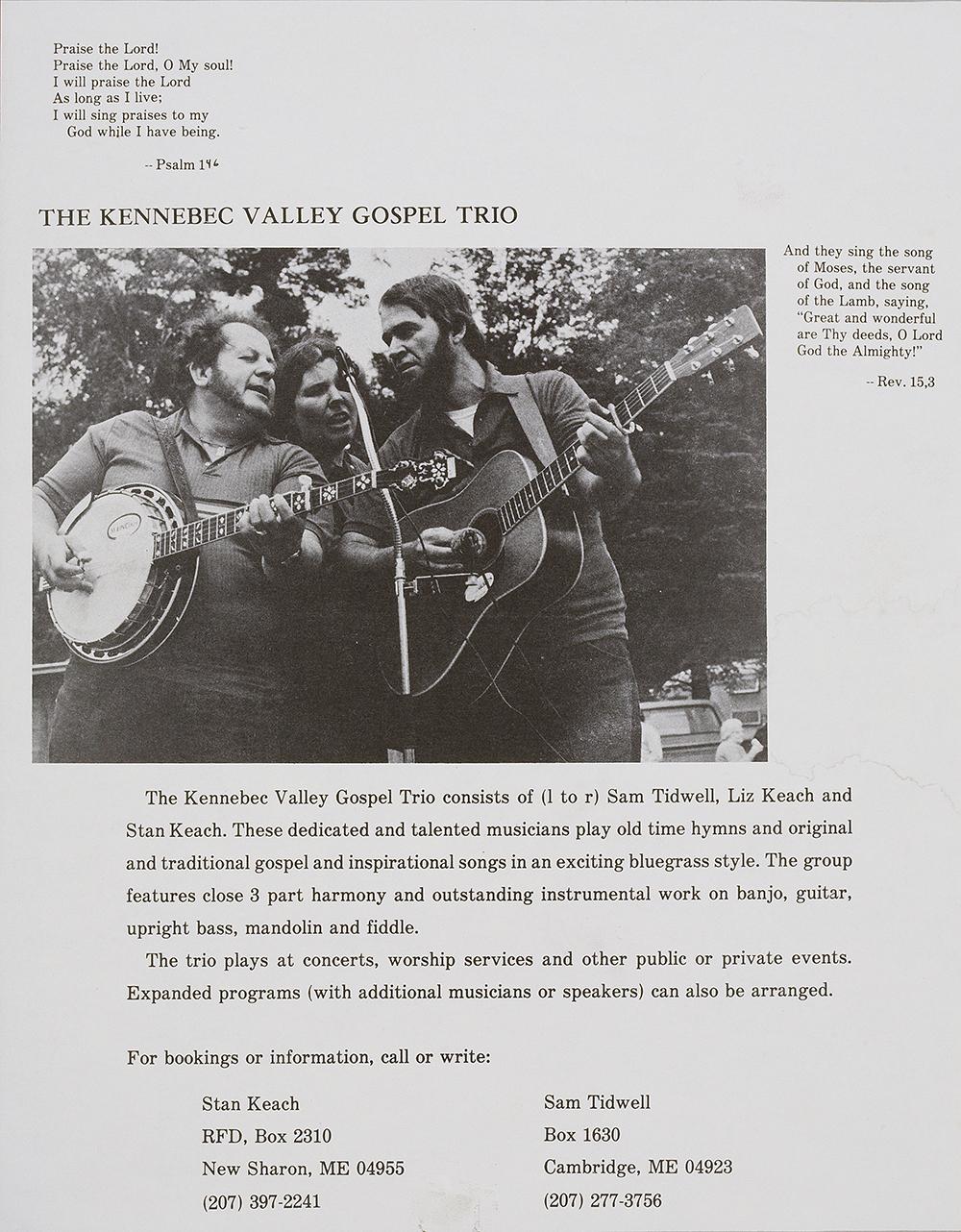 BIOG-0291, The Kennebec Valley Gospel Trio