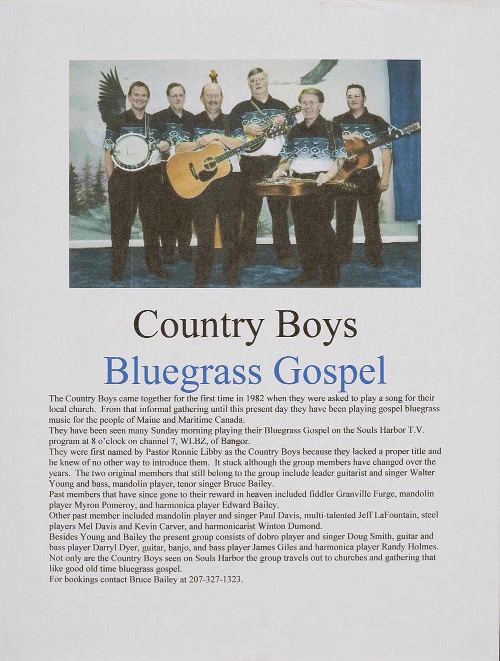 BIOG-0296, County Boys Bluegrass Gospel