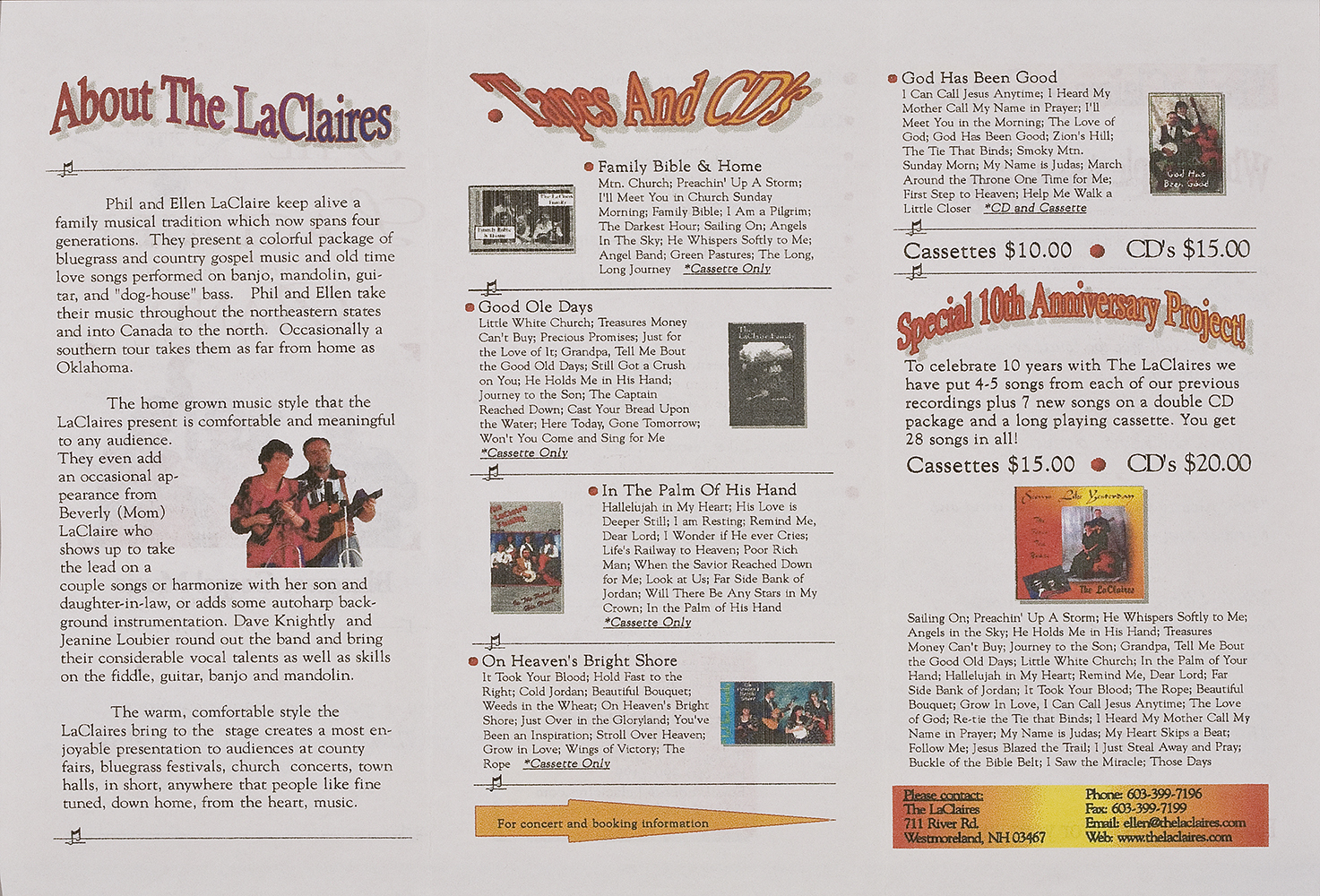 BIOG-0305, The LaClaire Band, back side