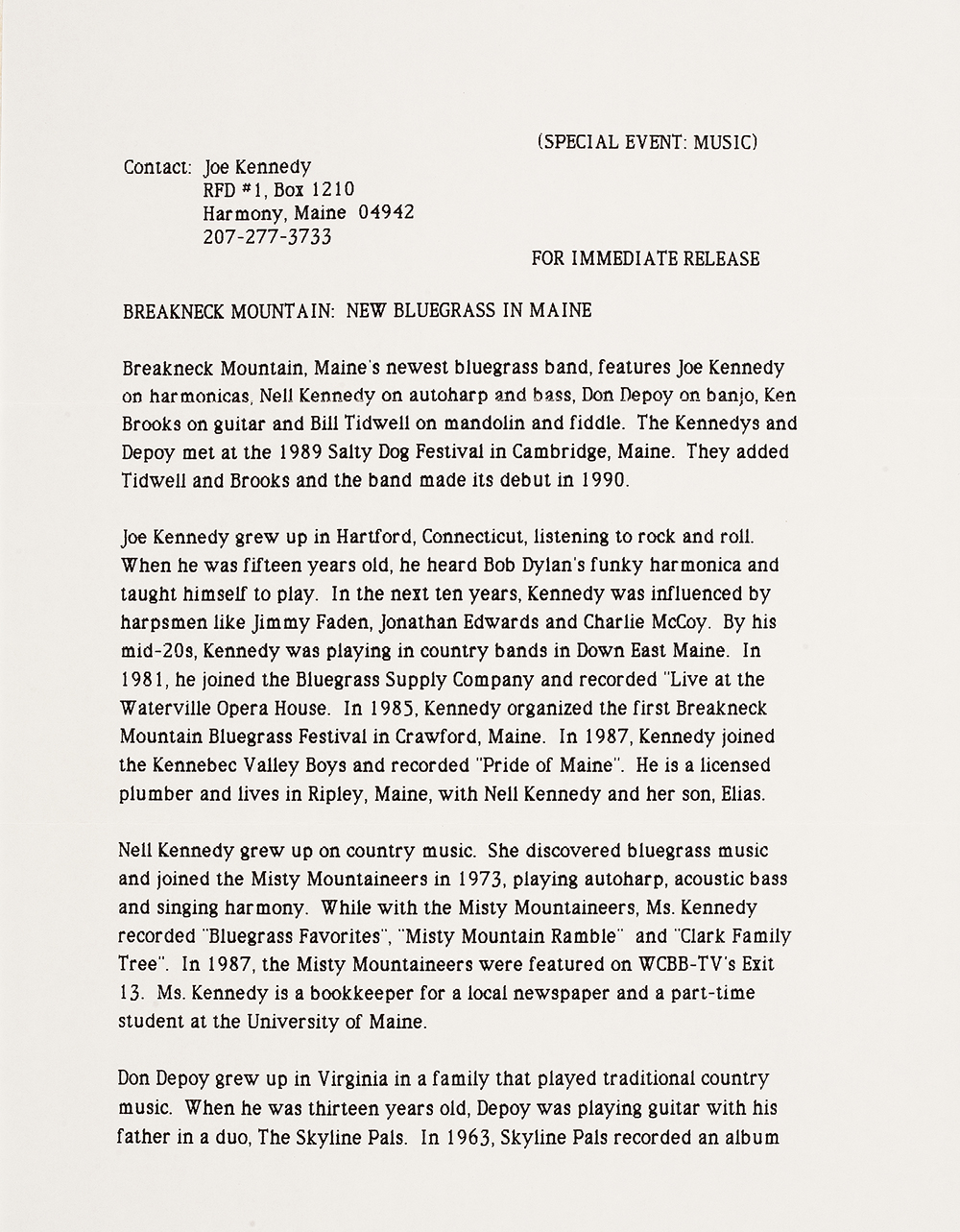 BIOG-1017, Breakneck Mountain Band, 1990, page 1