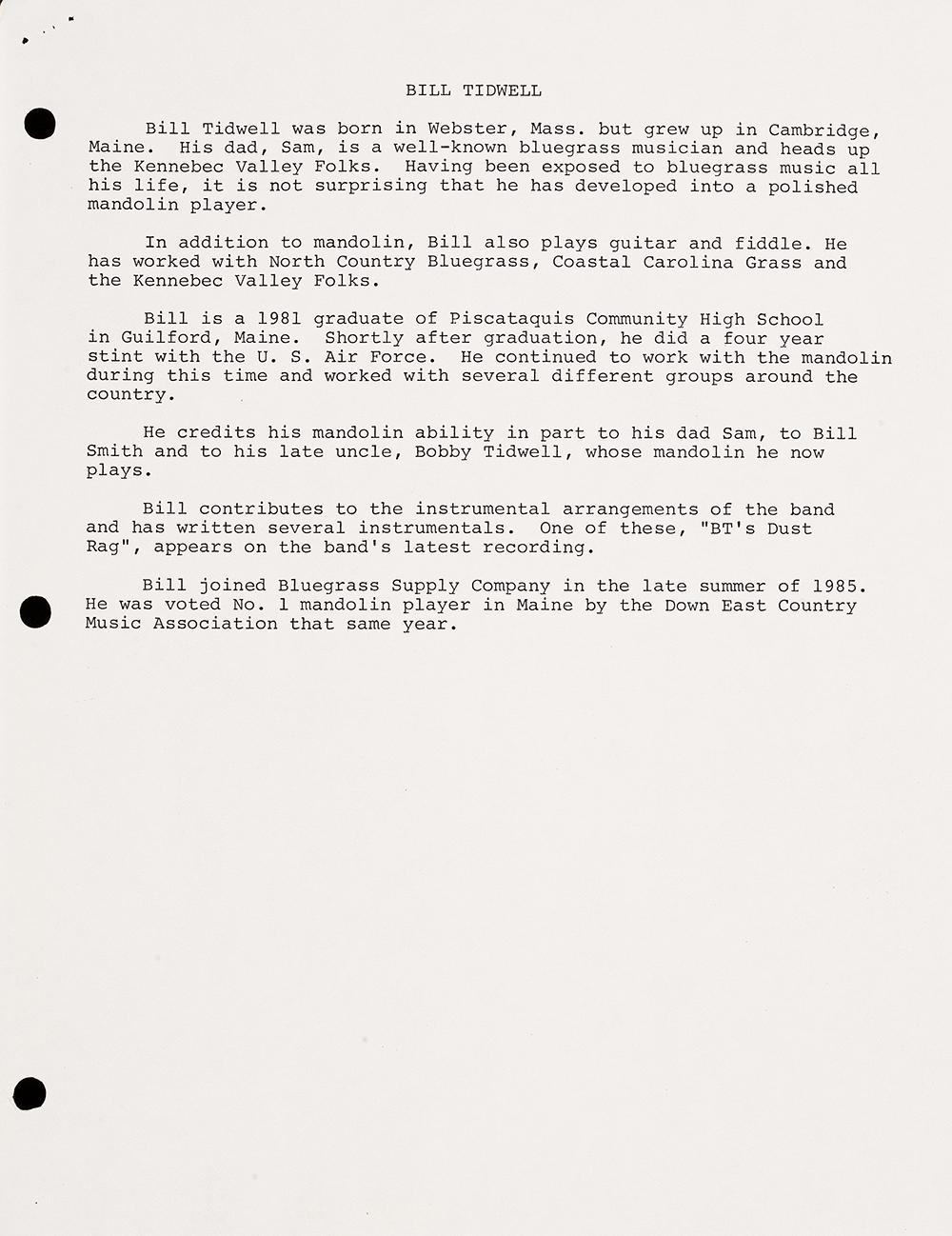 BIOG-1023, Bill Tidwell (Thibodeau), circa 1987