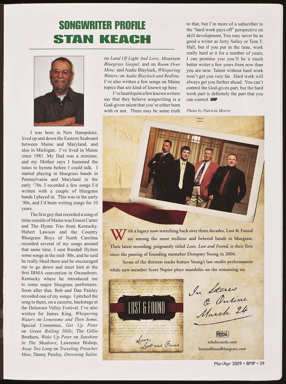 BIOG-1024, Stan Keach, Songwriter Profile, BMP Magazine, March-April 2009