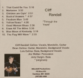 CD-0307, Cliff Randall, Through The Years