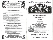 PROG-0008, 1986 Thomas Point Beach Bluegrass Festival, Front & Back Covers