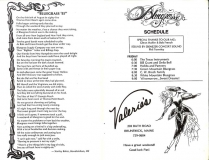 PROG-0009, 1986 Thomas Point Beach Bluegrass Festival, Friday Schedule