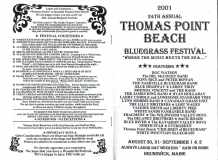 PROG-0013, 2001 Thomas Point Beach Bluegrass Festival, Front & Back Covers