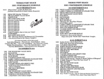 PROG-0014, 2001 Thomas Point Beach Bluegrass Festival, Thursday-Sunday Schedule