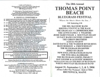 PROG-0015, 2006 Thomas Point Beach Bluegrass Festival, Front & Back Covers